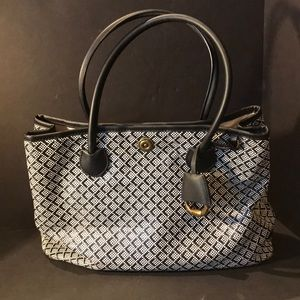 Ralph Lauren Woven Black White Handbag Purse